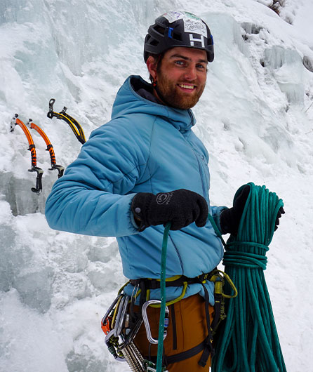 outdoor professional Zach Ice Climbs